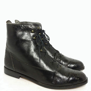 Rare Vintage Van Eli Italy Black Brogue Boots 11